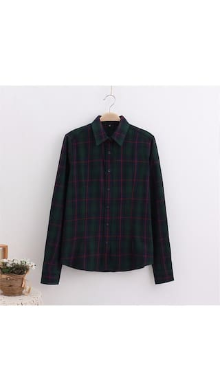 Shirt Tops Blouse Streetwear 5XL Women Wild Sleeve Size Long Cotton Large Plaid wUO8qZ