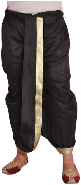 Men Dupion Solid Dhoti