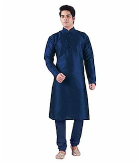 c62064cdf6 Buy Larwa Men Regular Fit Silk Full Sleeves Solid Kurta Pyjama - Blue  Online at Low Prices in India - Paytmmall.com