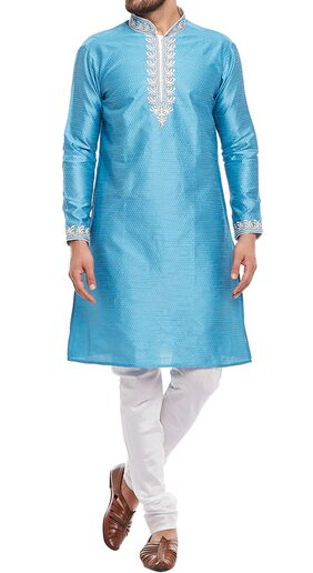 Larwa Men Regular Fit Silk Full Sleeves Kurta Pyjama - Blue