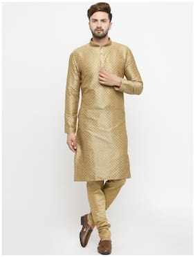 Men Silk Kurta And Churidar Set