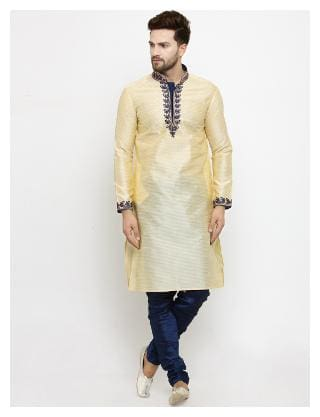 Larwa Men Regular fit Silk Full sleeves Solid Kurta Pyjama - Beige