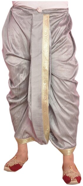 Larwa Dupion Striped Dhoti - Grey
