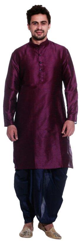Larwa Men Regular Fit Silk Full Sleeves Solid Kurta Pyjama - Brown