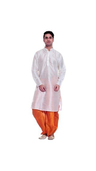 195d23cb05 Larwa Men Regular Fit Silk Full Sleeves Solid Kurta Pyjama - White