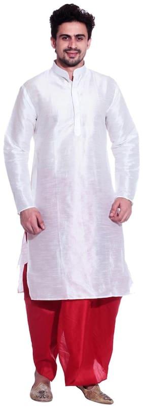Larwa Men Regular fit Silk Full sleeves Kurta Pyjama - White