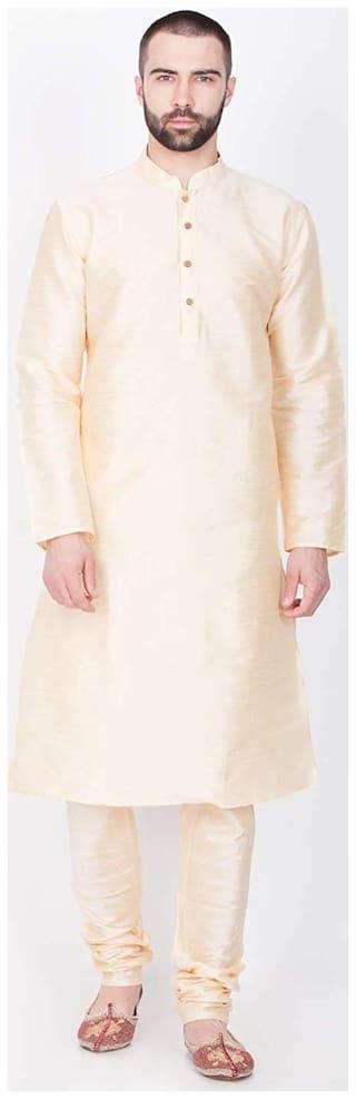 Larwa solid men Silk Kurta Pyjama - Beige