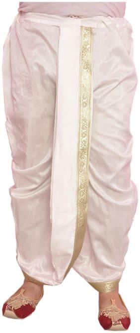 Larwa Dupion Solid Regular dhoti Dhoti - White