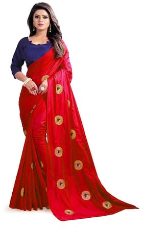 VIVELS Silk Universal Embroidered work Saree - Red , With blouse