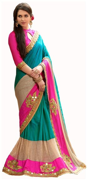Latest Party Wear Colourful Silk Embroidered Saree With Blouse