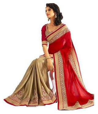 Promotion Discount Latest party wear Embroidered Half & half Saree with Embroidered Blouse and Perfect for all Women & Girls
