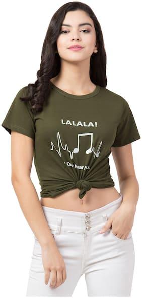 Lavanya Export Women Green Regular fit Round neck Cotton T shirt