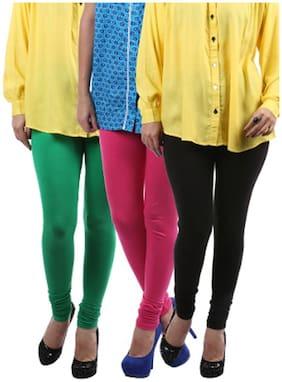 Lavennder Black,Green And Pink Cotton Lycra 3 Pack Of Legging