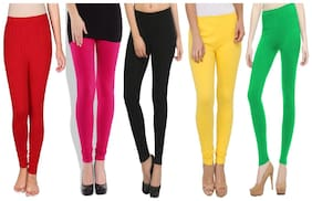Polyester Solid Leggings Pack Of 5 Or More