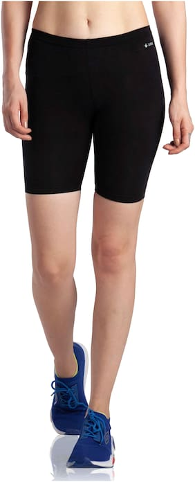 Lavos Women Solid Regular shorts - Black