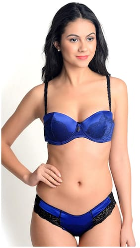 e1faa25de9b5f Lazoya Self Design Balconette Bra Lingerie Set - Blue