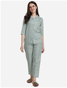Lazy Bird Designer Kitty Printed Green Nightsuit