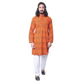 Ldhsati Cotton om printed Kurta for men ( men's) man Orange