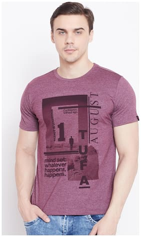 Le Bourgeois Men Maroon Regular fit Polyester Round neck T-Shirt - Pack Of 1