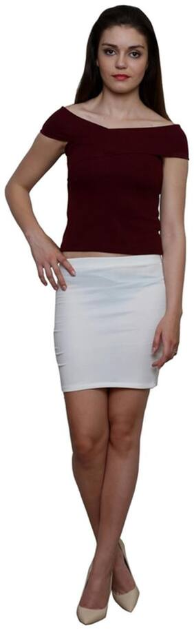 Le Bourgeois Maroon Color Polyester Top For Women