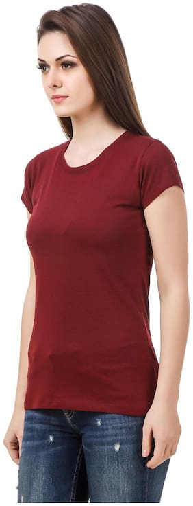 Le Bourgeois Maroon Round Neck T-shirt