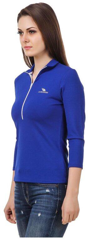 Le Bourgeois Women Solid Mandarin Collar T-Shirt - Blue