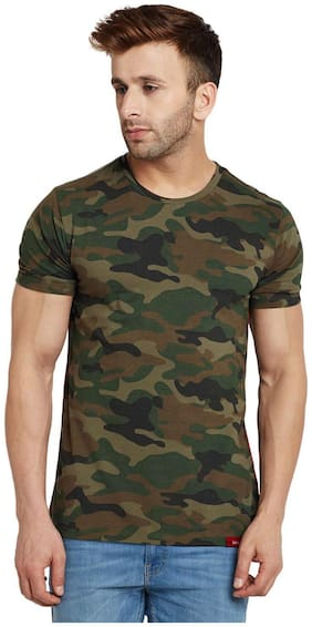 Le Bourgeois Men Multi Regular fit Cotton Round neck T-Shirt - Pack Of 1