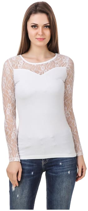 Le Bourgeois white color body with white color net shoulder and sleeve round neck cotton top for women. Team this top with jeans;casual trouser and casual sandal for complete look