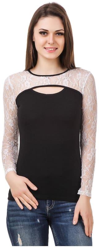 Le Bourgeois Black And White Cut Out Net Yoke Women's Top