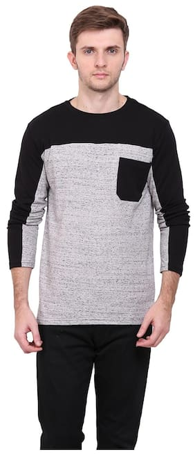Le Bourgeois Men Grey Regular fit Cotton Round neck T-Shirt - Pack Of 1