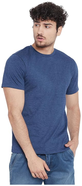Le Bourgeois Men Blue Regular fit Cotton Blend Round neck T-Shirt - Pack Of 1