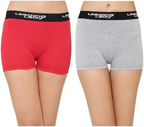 Leading Lady Pack Of 2 Solid High Waist Boyshorts - Red