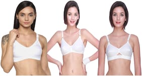 Leading Lady Women everyday-Mix Assorted Different bra  - White (Pack Of 3)