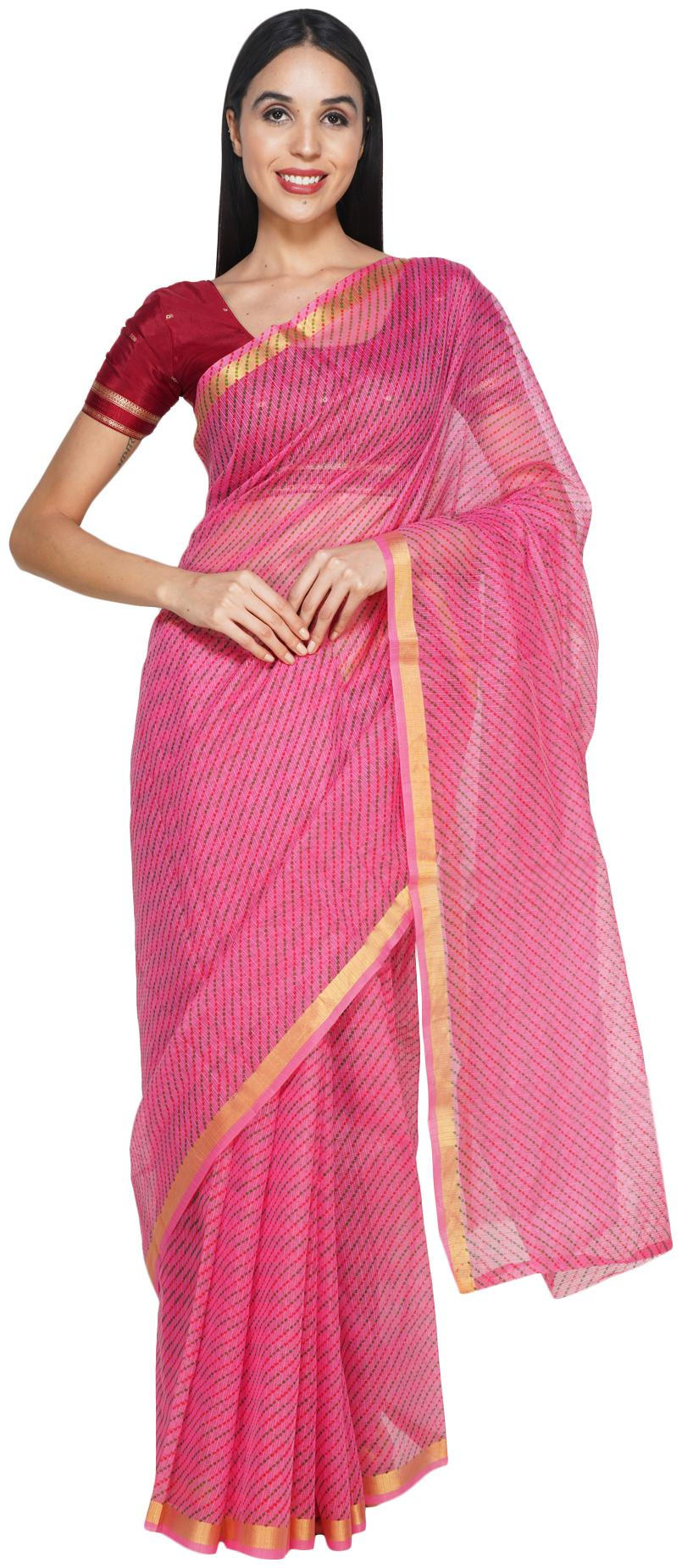 Leapcat Women Cotton Daily Wear Saree  Purple