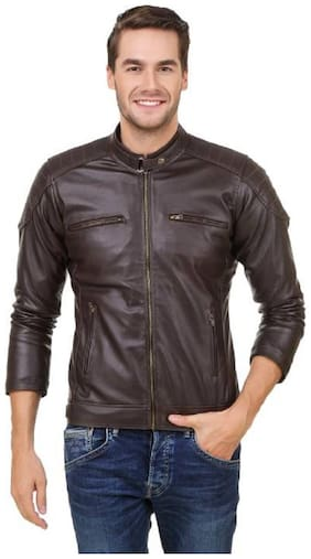 GARMADIAN Men Pu & Leather Slim fit Jacket - Brown