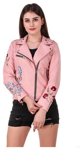 Leather Retail Women Printed Leather Jacket - Pink