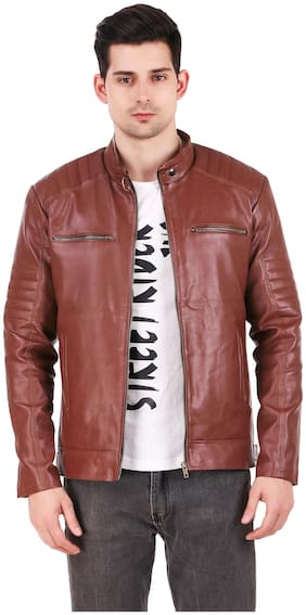 Leather Retail Biker Digital Printed Brown Faux leather jacket For Man s