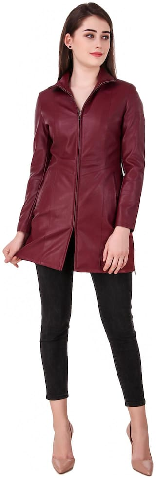Leather Retail Women Solid Leather Jacket - Red