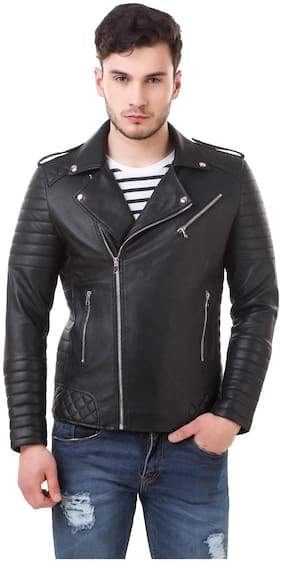 Leather Retail Men Black Solid Biker jacket - Black
