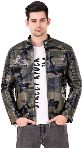 Leather Retail Army design Faux leather jacket For Man