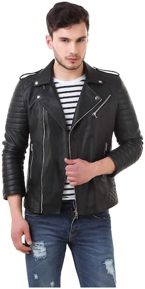 Leather Retail Men Black Striped Biker jacket - Black