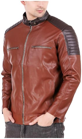 Leather Retail Brown Crafted Design Faux Leather Jacket For Man s