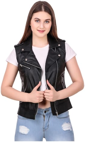 Leather Retail Women Solid Leather Jacket - Black