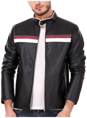 Leather Retail Black Tommy Design  Faux Leather Jacket For Man