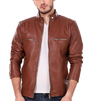 Paytm Mall Winter Dhamaka Offer - Leather Retail Men Leather Jacket - Brown www.hindicalling.com