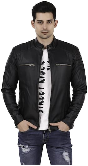 Leather Retail Black Designer Digital Printed Faux Leather Jacket For Man s