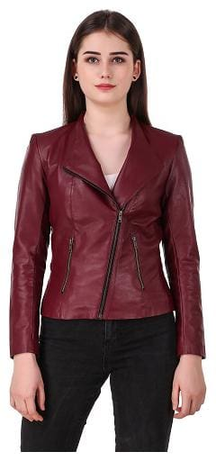 Leather Retail Women Solid Leather jacket - Maroon