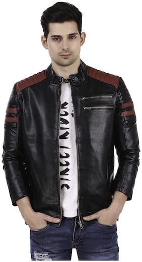 Leather Retail Red Padding Design Black Faux Leather Jacket For Man