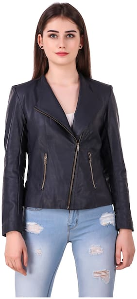 Leather Retail Women Solid Leather Jacket - Blue