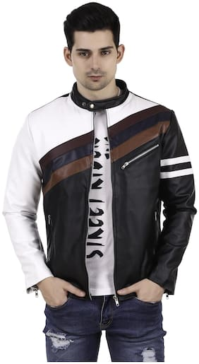 Leather Retail Men Leather Regular fit Jacket - Black
